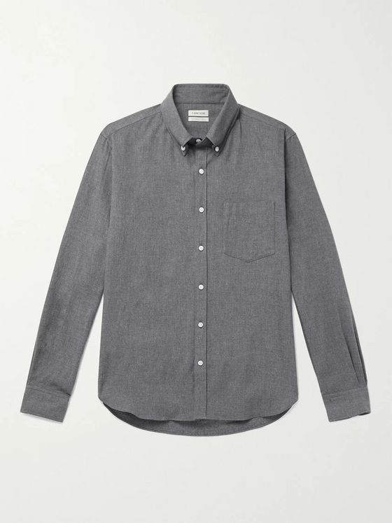 DE BONNE FACTURE Button-Down Collar Cotton-Flannel Shirt