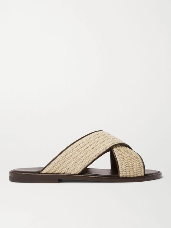 MANOLO BLAHNIK Otawi Woven Raffia and Leather Sandals