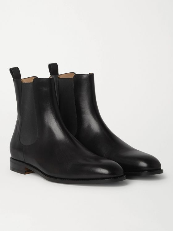 MANOLO BLAHNIK Delsa Polished-Leather Chelsea Boots