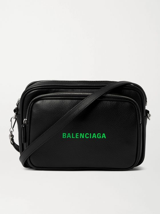 BALENCIAGA Logo-Print Leather Messenger Bag