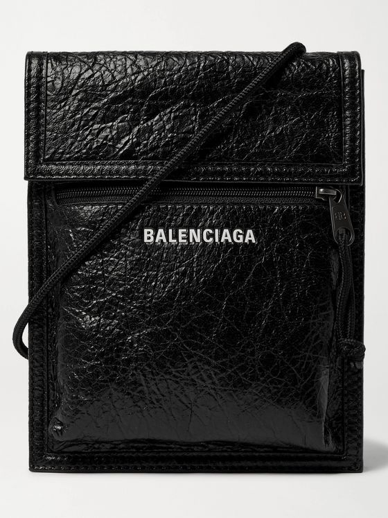 BALENCIAGA Logo-Print Creased-Leather Messenger Bag