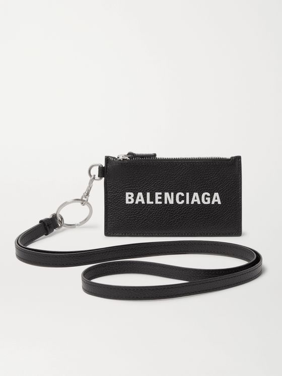 BALENCIAGA Logo-Print Full-Grain Leather Cardholder with Lanyard