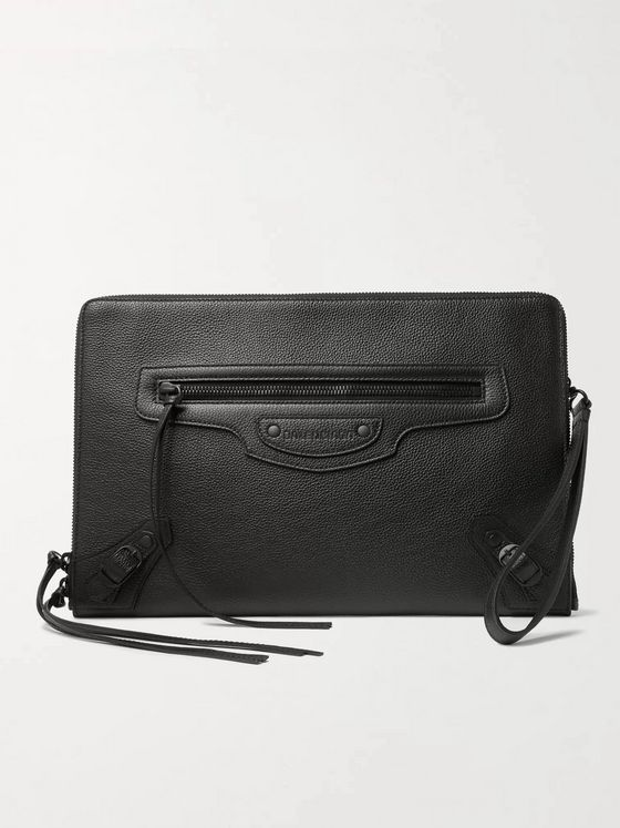 BALENCIAGA Logo-Debossed Full-Grain Leather Pouch