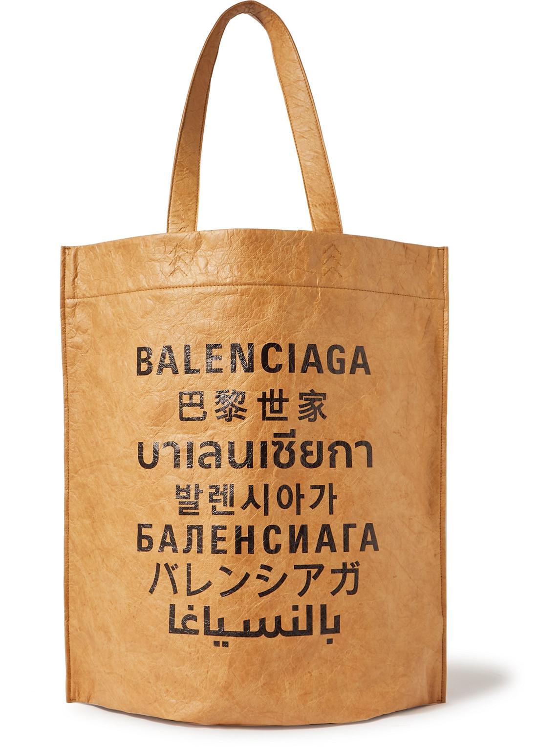 BALENCIAGA LOGO-PRINT COATED-PAPER TOTE BAG