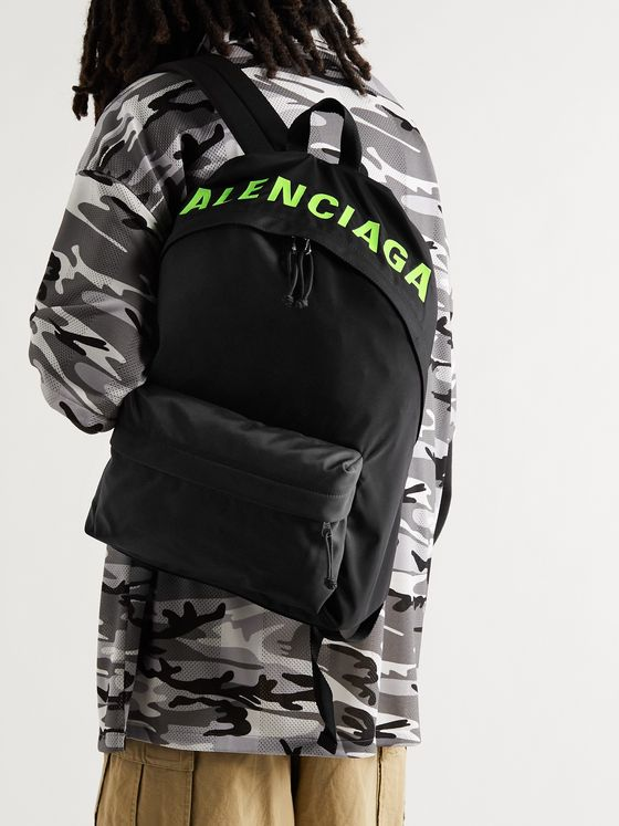 BALENCIAGA Logo-Print Canvas Backpack