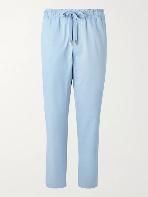 Dolce & Gabbana Cropped Tapered Cotton and Silk-Blend Drawstring Trousers