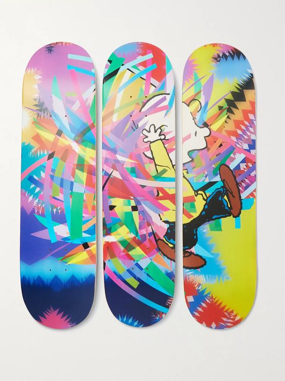 The SkateRoom + Peanuts by AVAF Set of Three Printed Wooden Skateboards
