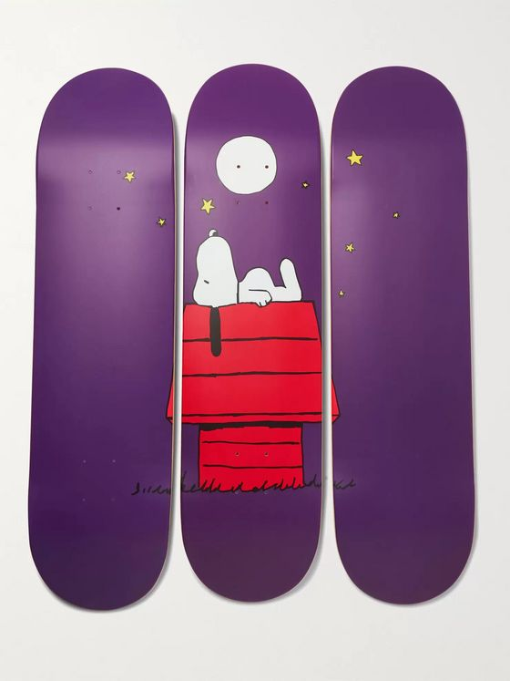 The SkateRoom + Peanuts by Rob Pruitt Set of Three Printed Wooden Skateboards