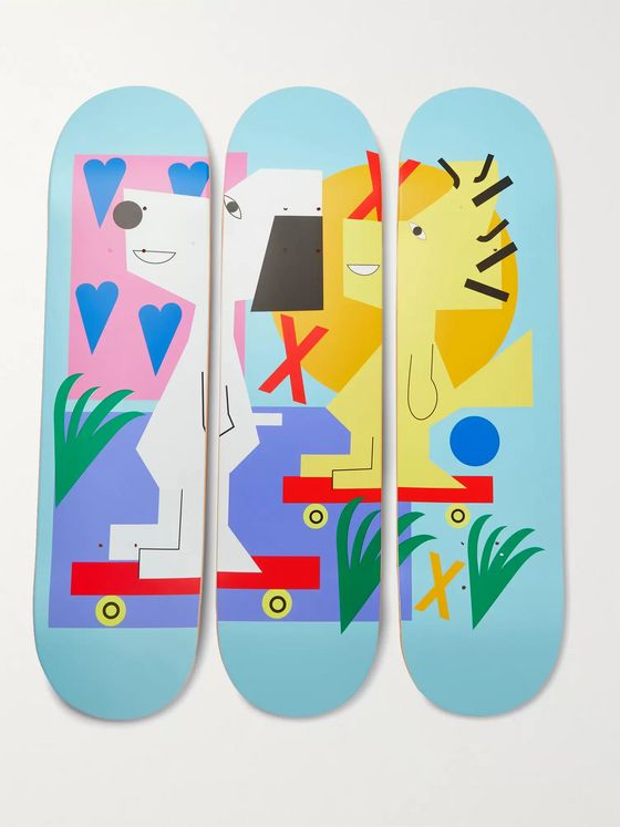 THE SKATEROOM + Peanuts by Nina Chanel Abney Set of Three Printed Wooden Skateboards