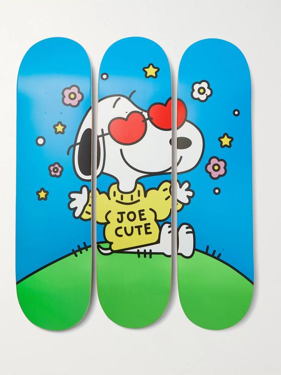 THE SKATEROOM + Peanuts by FriendsWithYou Set of Three Printed Wooden Skateboards