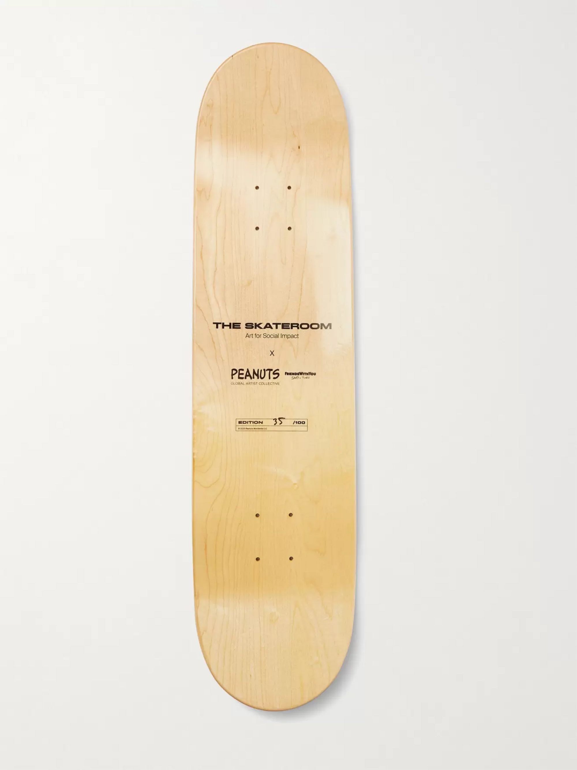 THE SKATEROOM + Peanuts by FriendsWithYou Printed Wooden Skateboard