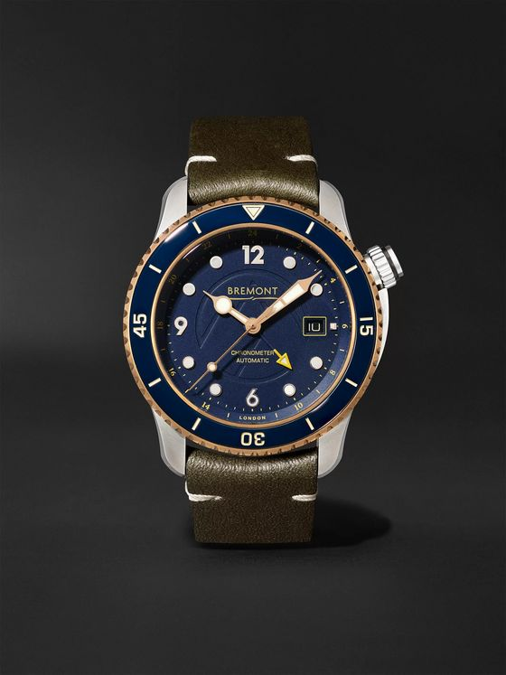 BREMONT Project Possible Limited Edition Automatic GMT 43mm Titanium, Bronze and Leather Watch, Ref. PROJECT-POSSIBLE-R-S