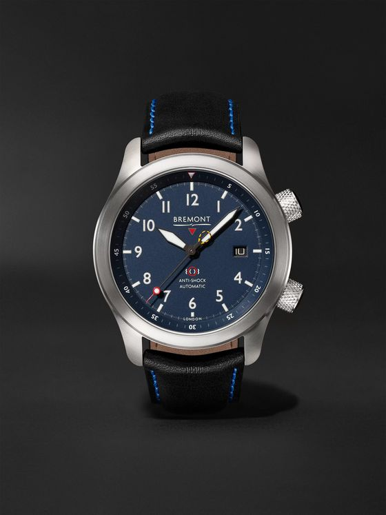 Bremont MBII Blue Automatic 43mm Stainless Steel and Leather Watch, Ref. MBII-SS-BL-C-B-P-13R