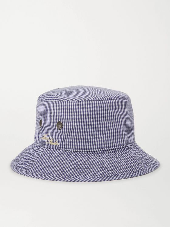 ACNE STUDIOS Logo-Embroidered Gingham Woven Bucket Hat
