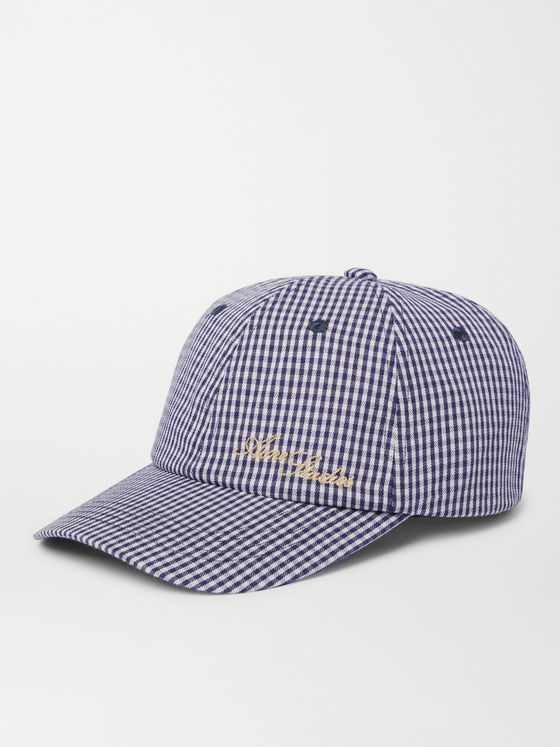 ACNE STUDIOS Logo-Embroidered Gingham Woven Baseball Cap