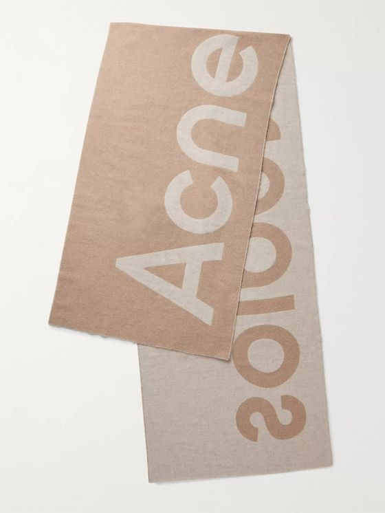 ACNE STUDIOS Reversible Two-Tone Intarsia Wool-Blend Scarf