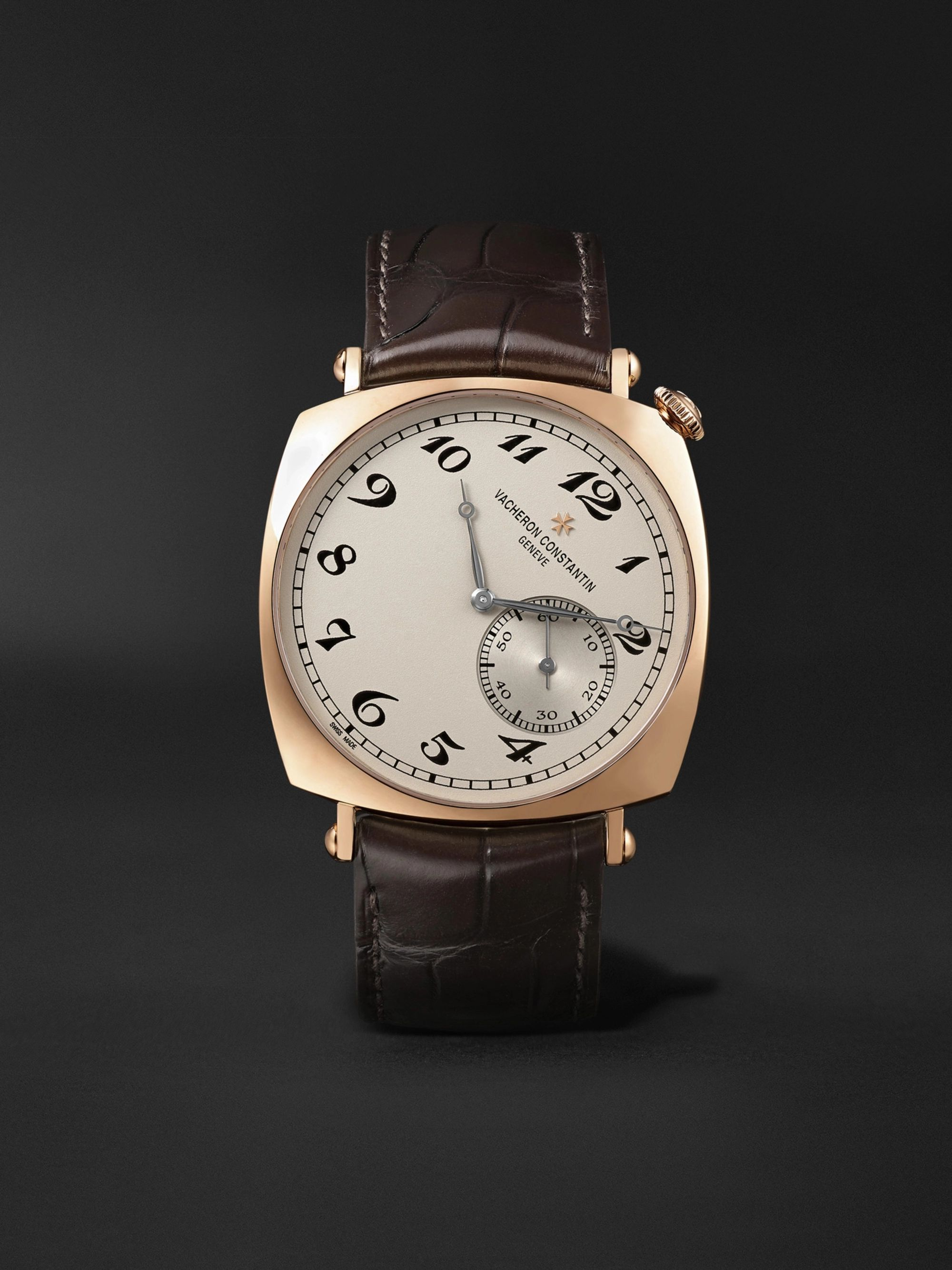 Vacheron Constantin Historiques American 1921 Hand-Wound 40mm 18-Karat Pink Gold and Alligator Watch, Ref. No. 82035/000R-9359