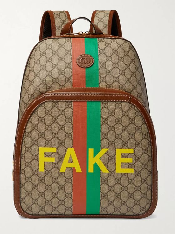 GUCCI Logo-Appliquéd Leather-Trimmed Printed Monogrammed Coated-Canvas Backpack