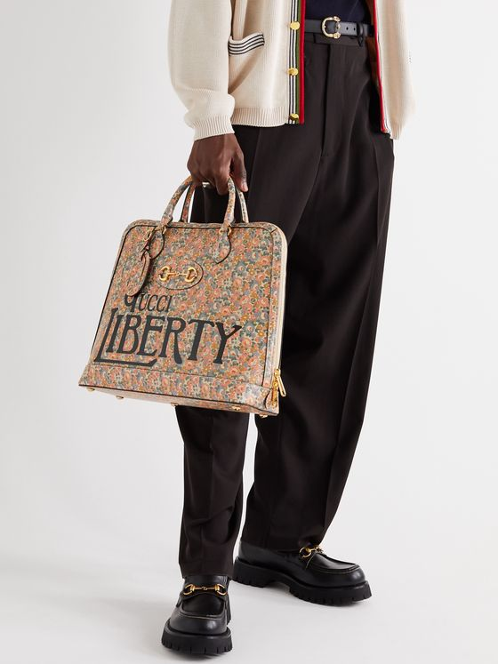 GUCCI + Liberty Horsebit 1955 Printed Leather Tote Bag