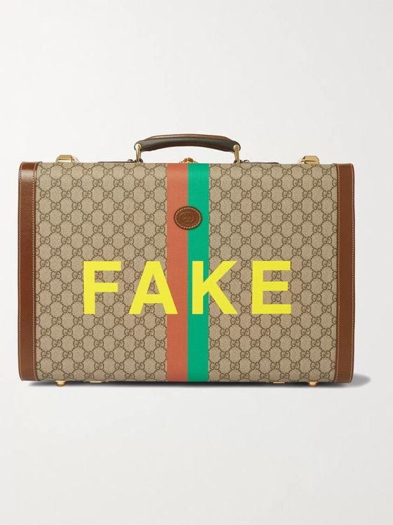 GUCCI Leather-Trimmed Printed Monogrammed Coated-Canvas Suitcase