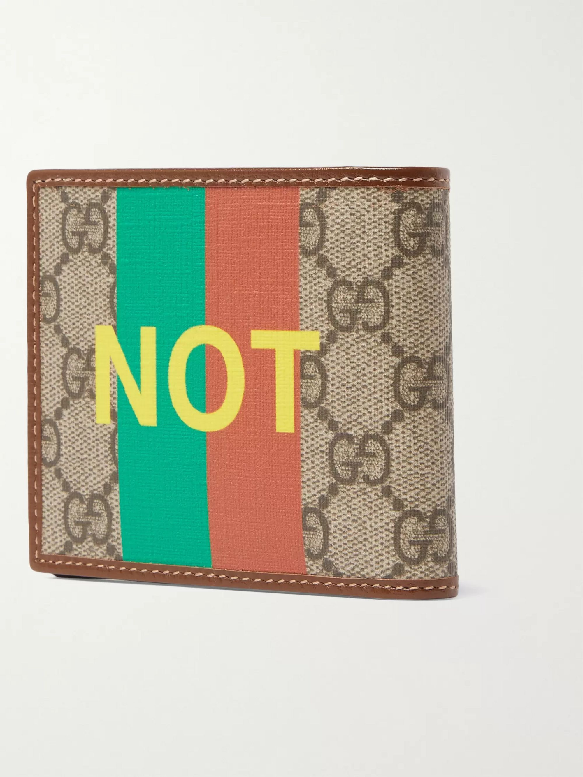 GUCCI Printed Leather-Trimmed Monogrammed Coated-Canvas Billfold Wallet