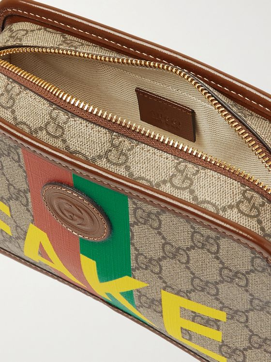 GUCCI Logo-Appliquéd Leather-Trimmed Printed Monogrammed Coated-Canvas Wash Bag