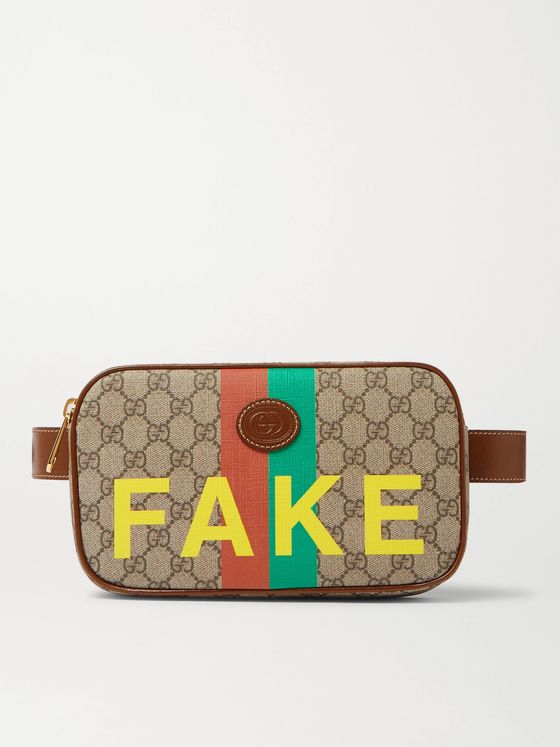 Gucci Printed Leather-Trimmed Monogrammed Coated-Canvas Belt Bag