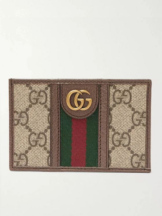 Gucci Ophidia Webbing-Trimmed Leather and Monogrammed Coated-Canvas Cardholder
