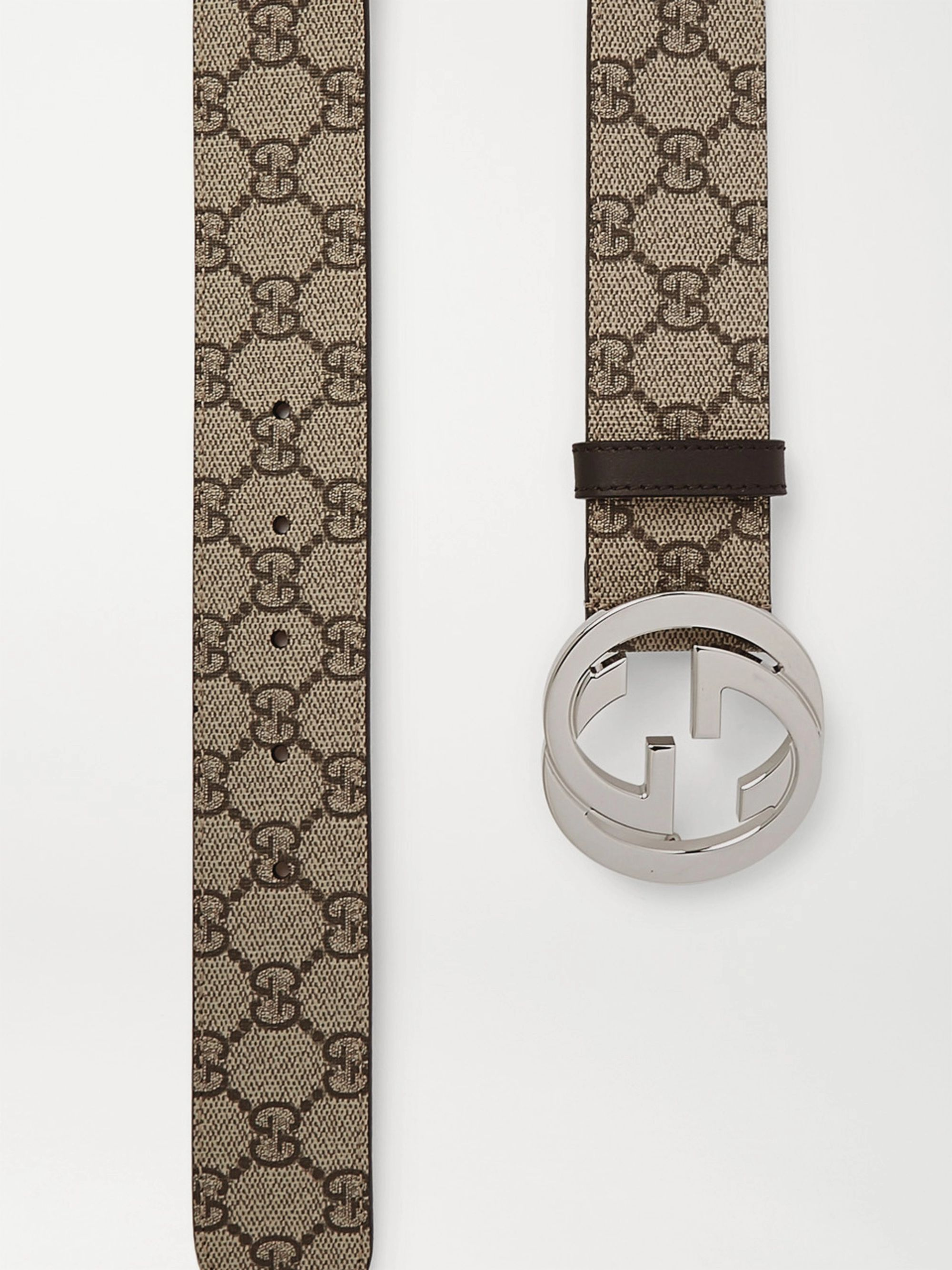 Gucci 4cm Leather-Trimmed Monogrammed Coated-Canvas Belt