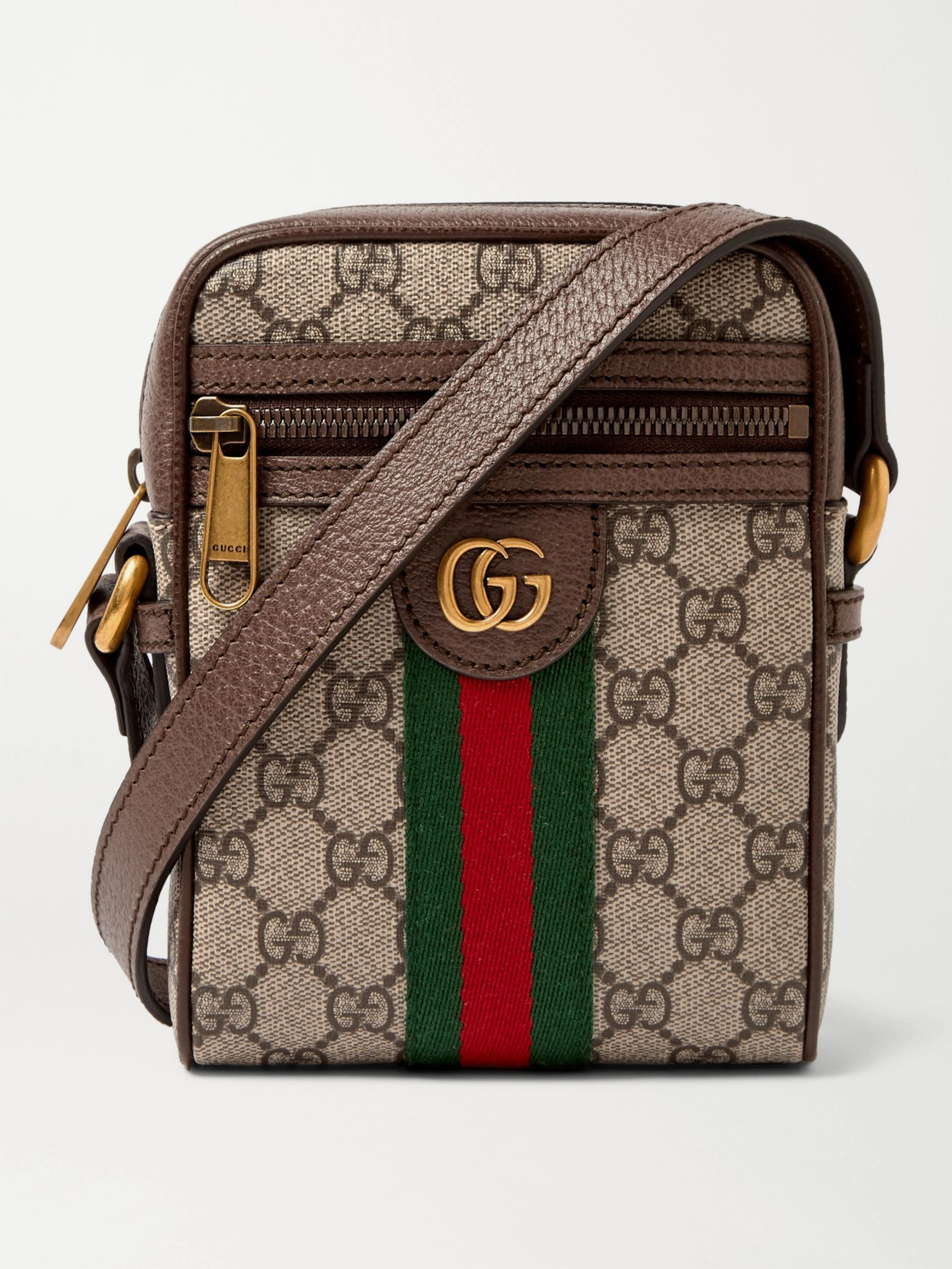 GUCCI Ophidia Mini Leather-Trimmed Monogrammed Coated-Canvas Messenger Bag