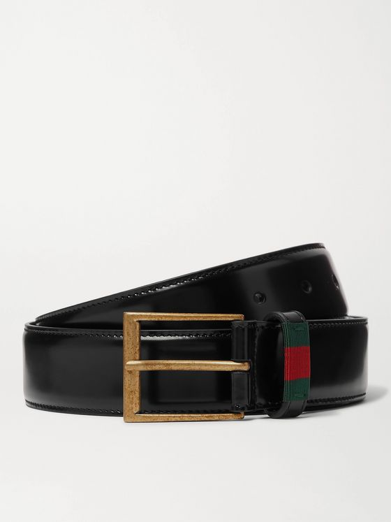 GUCCI 3.5cm Webbing-Trimmed Polished-Leather Belt