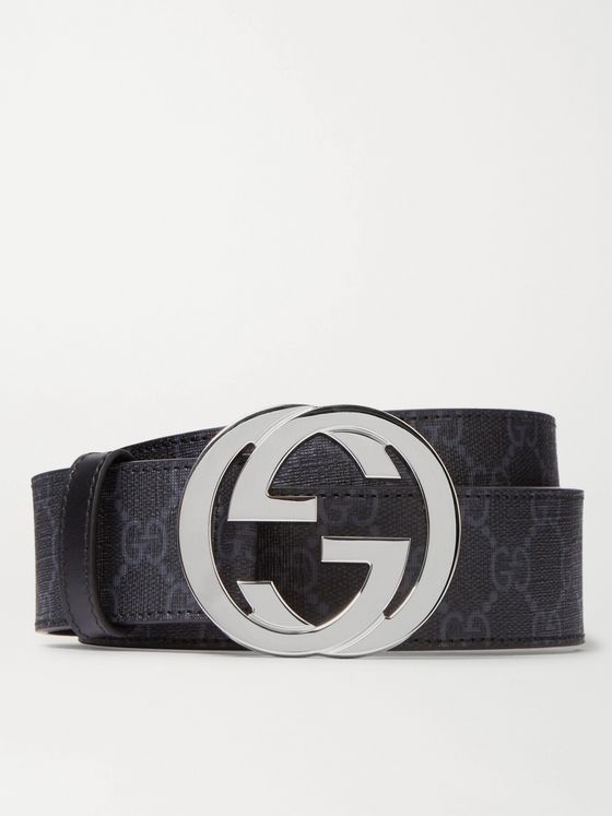 GUCCI 4cm Monogrammed Coated-Canvas Belt