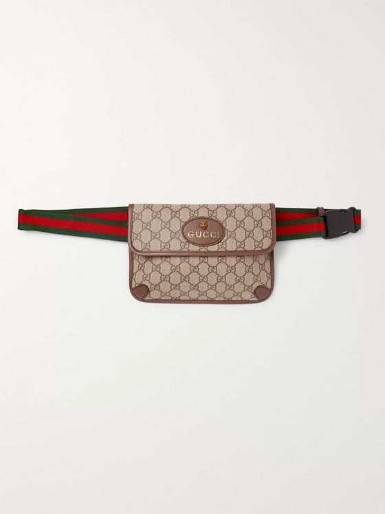 GUCCI Ophedia Leather-Trimmed Monogrammed Coated-Canvas Belt Bag