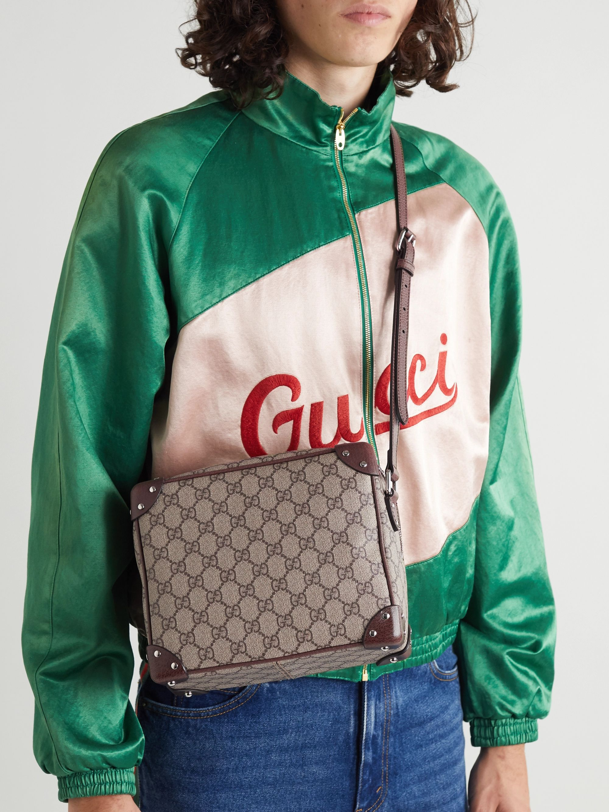 Gucci Studded Leather-Trimmed Monogrammed Coated-Canvas Messenger Bag