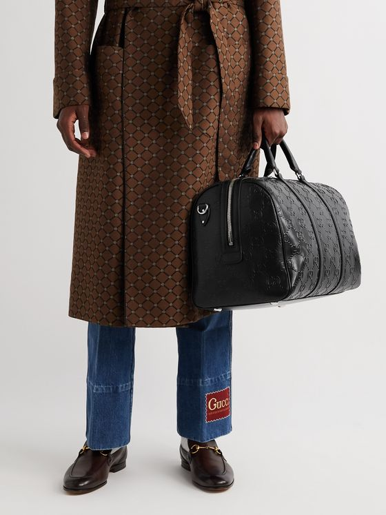 GUCCI Logo-Embossed Leather Duffle Bag