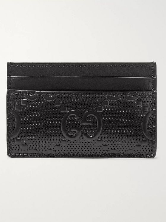 GUCCI GG Tennis Logo-Embossed Leather Cardholder