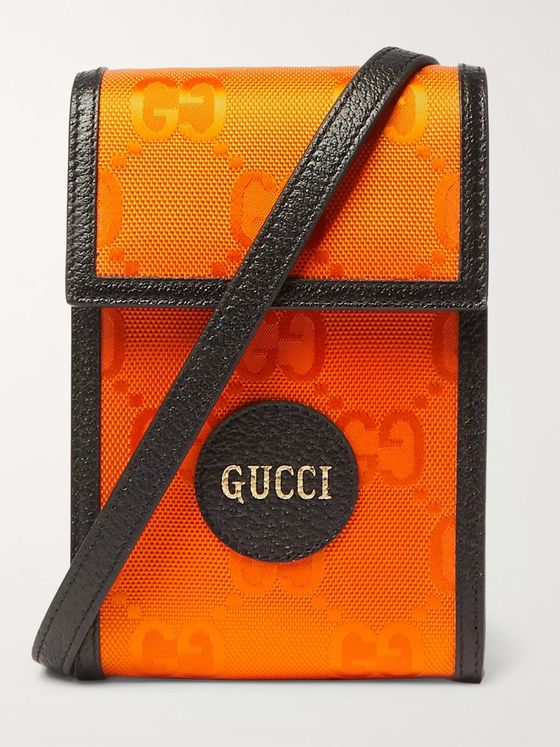 GUCCI Off the Grid Leather-Trimmed Monogrammed ECONYL Canvas Messenger Bag