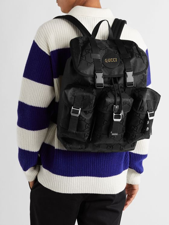 GUCCI Off the Grid Leather-Trimmed Monogrammed ECONYL Canvas Backpack