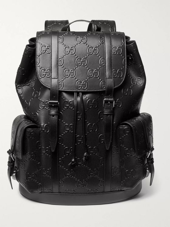 GUCCI Logo-Embossed Leather Backpack