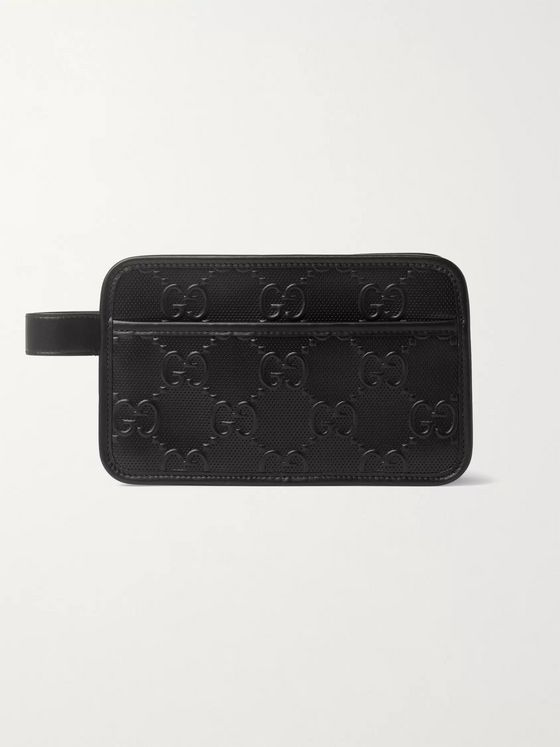 Gucci Logo-Embossed Perforated Leather Wash Bag