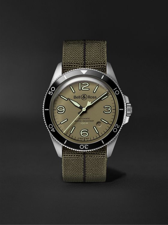 BELL & ROSS BR V2-92 Military Green Automatic 41mm Stainless Steel and Canvas Watch, Ref. No. BRV292-MKA-ST/SF