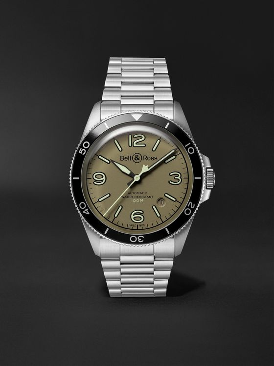BELL & ROSS BR V2-92 Military Green Automatic 41mm Stainless Steel Watch, Ref. No. BRV292-MKA-ST/SST