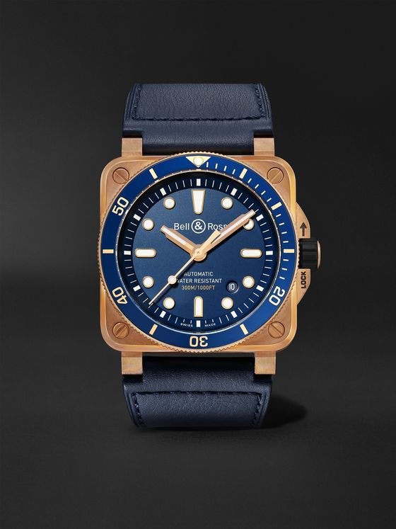 BELL & ROSS BR 03-92 Limited Edition Diver Blue Bronze Automatic 42mm Bronze and Leather Watch, Ref. No. BR0392-D-LU-BR/SCA