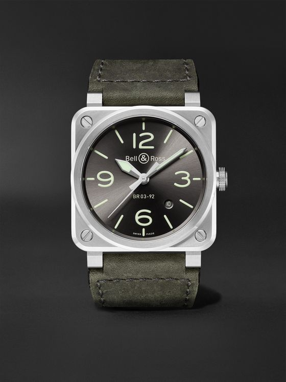BELL & ROSS BR 03-92 Grey Lum Automatic 42mm Stainless Steel and Leather Watch, Ref. No. BR0392-GC3-ST/SCA