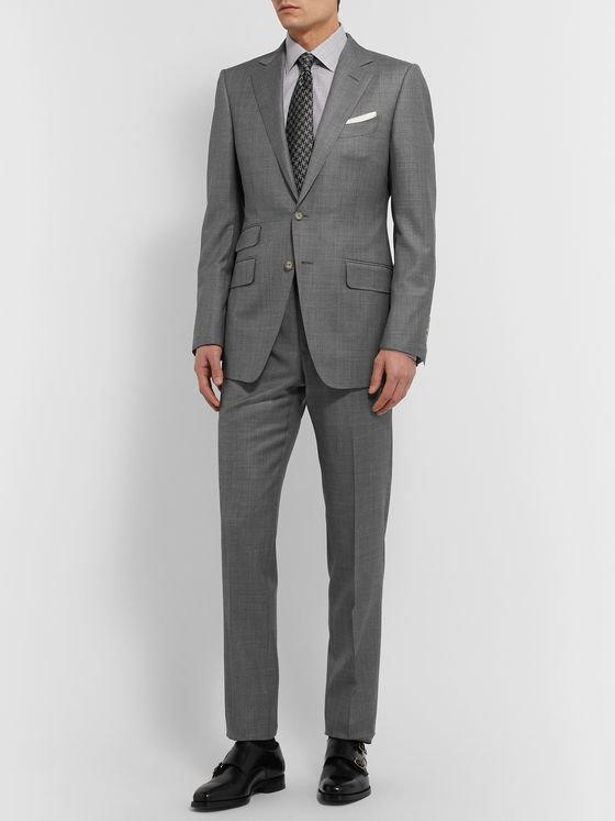TOM FORD Slim-Fit Super 110s Sharkskin Wool Suit Trousers