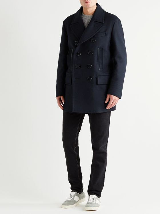 TOM FORD Slim-Fit Double-Breasted Leather-Trimmed Wool and Cashmere-Blend Peacoat