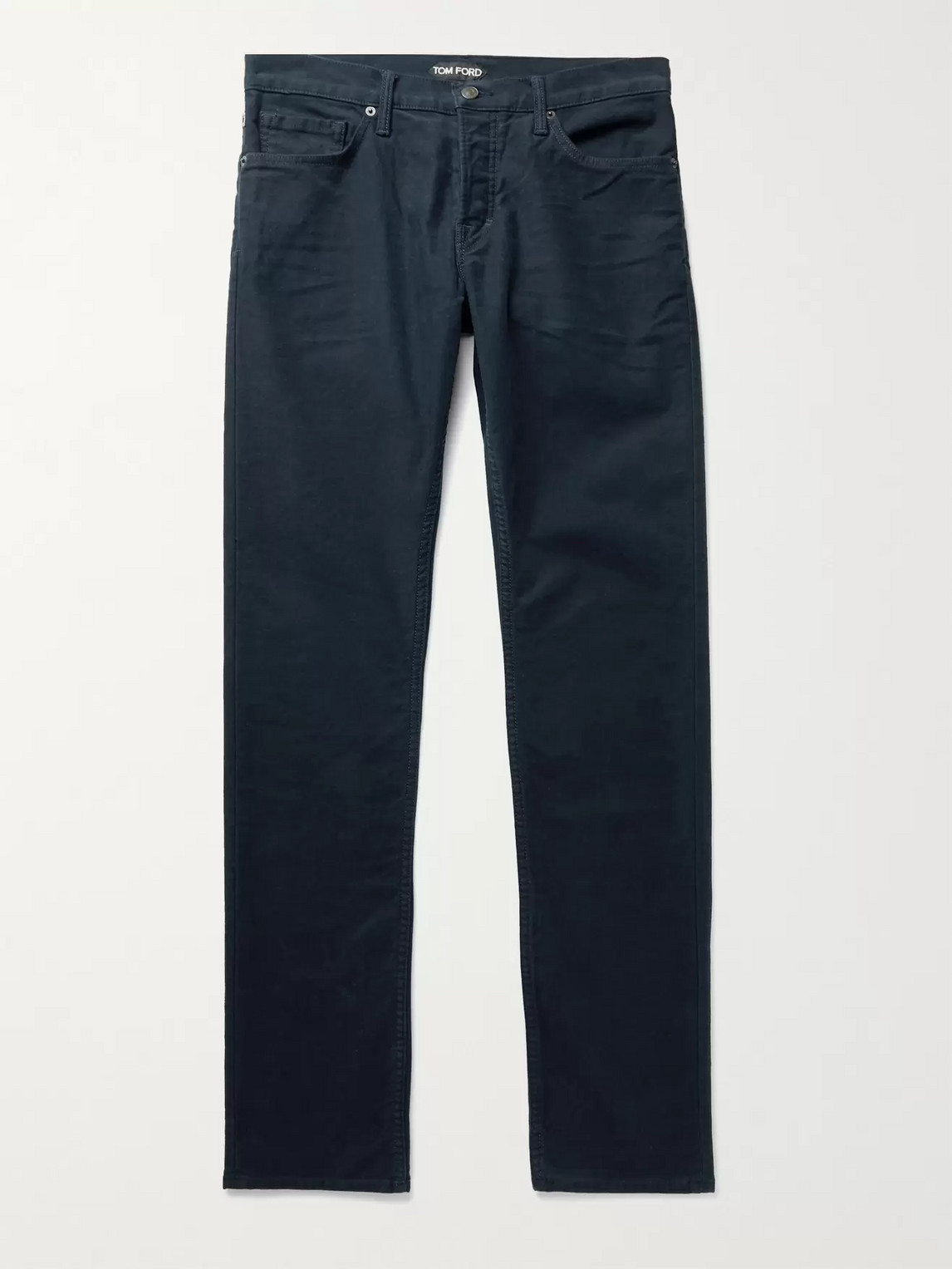 Tom Ford Slim-fit Cotton-blend Moleskin Trousers In Blue