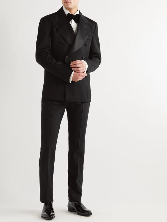 GIULIVA HERITAGE Tonino Slim-Fit Satin-Trimmed Double-Breasted Wool Tuxedo Jacket