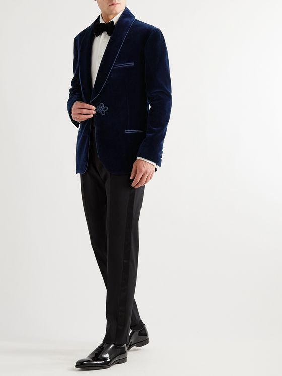 Giuliva Heritage Mario Shawl-Collar Cotton-Velvet Tuxedo Jacket