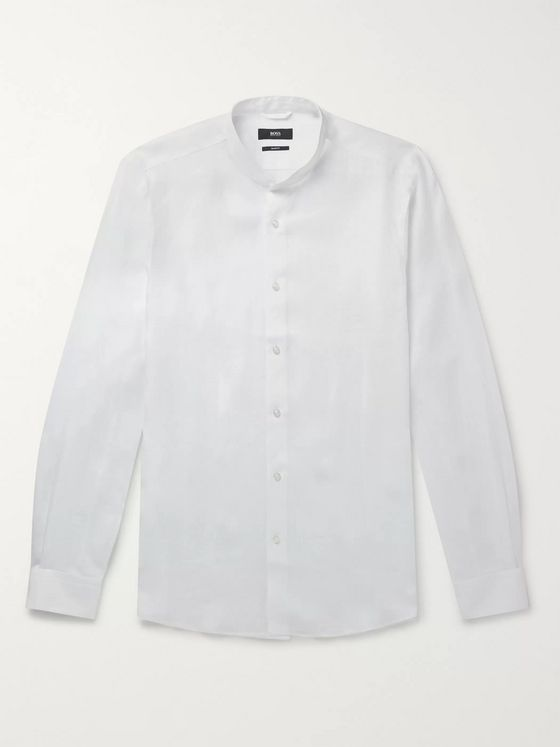 Hugo Boss Jordi Slim-Fit Grandad-Collar Linen Shirt